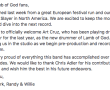 Statement:  Lamb of God Parts Ways With Drummer Chris Adler