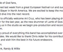 Statement:  Lamb of God Parts Ways With Drummer Chris Adler