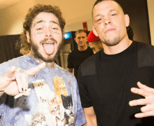 Nate Diaz w/ Post Malone & Billie Joe Armstrong 2019