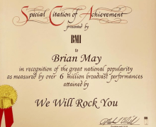 "Queen ""We Will Rock You"" 6 Million Broadcast Performances – BMI Achievement Award ""Fat Bottomed Girls"""