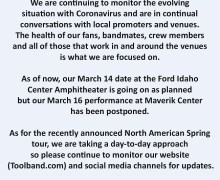 TOOL: Eugene & West Valley City Concerts Postponed – 2020 TOUR UPDATE – Maverik Center – Matthew Knight Arena