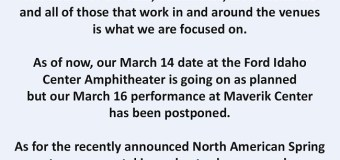 TOOL: Eugene & West Valley City Concerts Postponed – 2020 TOUR UPDATE – Maverik Center – Matthew Knight Arena