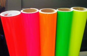 Fluorescent vinyl colors