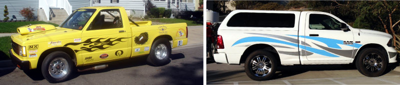 Hot-rod yellow race truck, left, and Dodge Ram, right. Custom vehicle graphics applied.