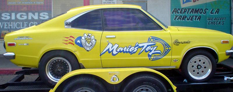 Rotary Mazda Rx-3 with custom rotary-engine vehicle graphics.