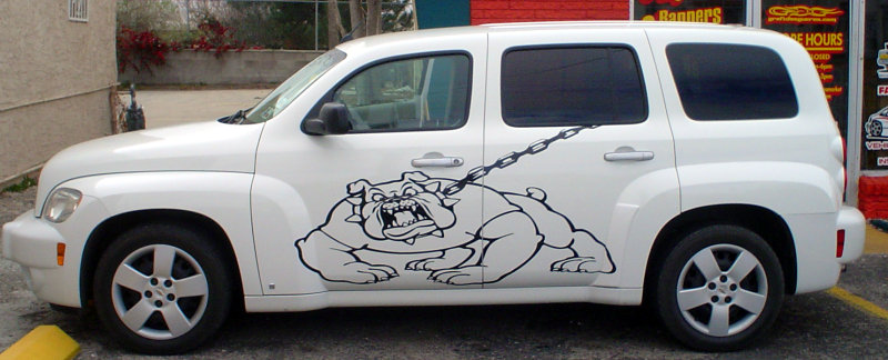 Bulldog graphics grazing the sides of a PT-Cruiser.
