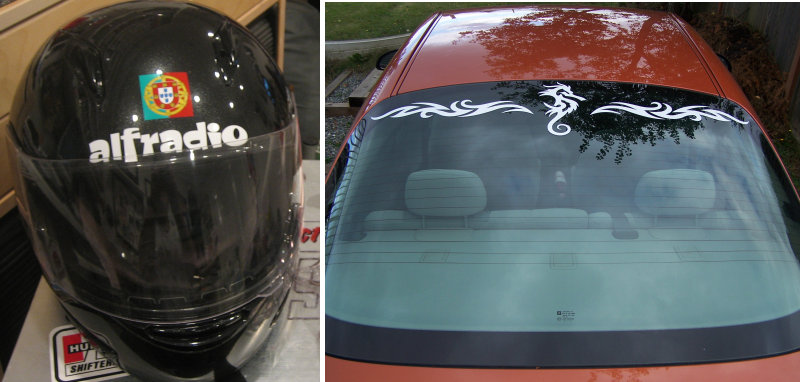 motorcycle helmet decal (left) rear window white dragon decal (right)