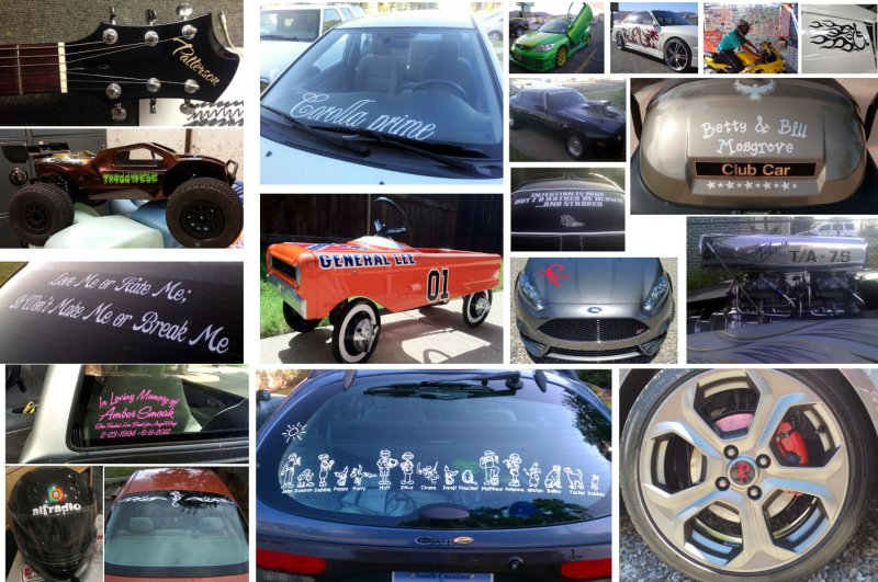 decals of assorted rides collage