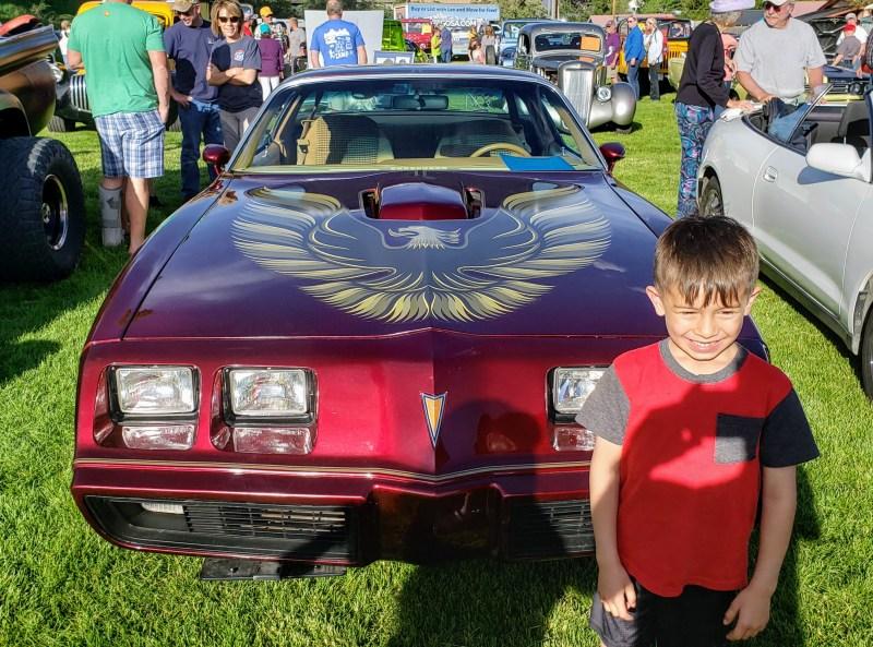 Maroon Pontiac Firebird with Hood Graphics