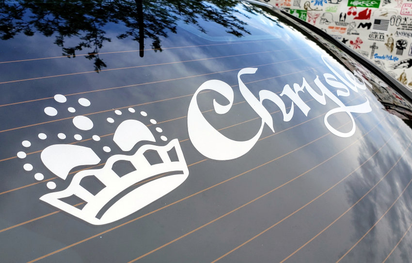 Chrysler with silver back window lettering decal