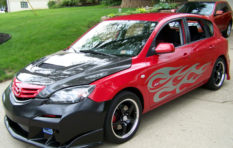 sport car with silveer flame graphics decals