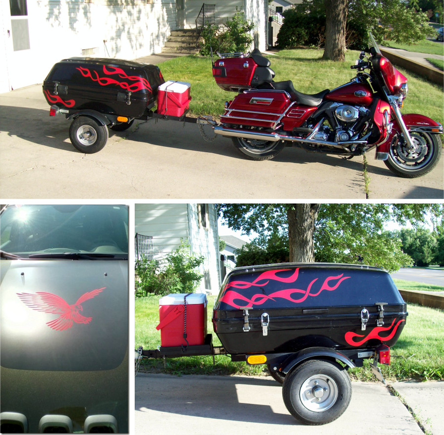 Motorcycle trailer with red flames decals