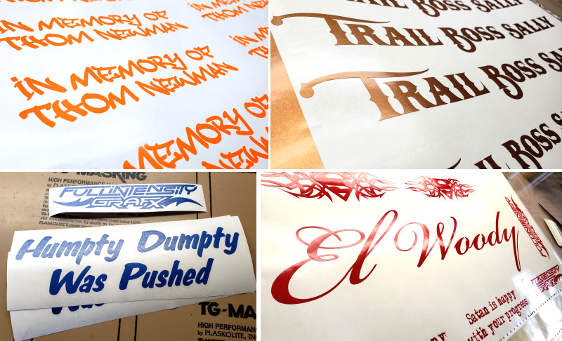 script and tagger lettering decals