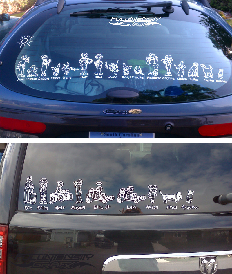 very large family sticker across back window