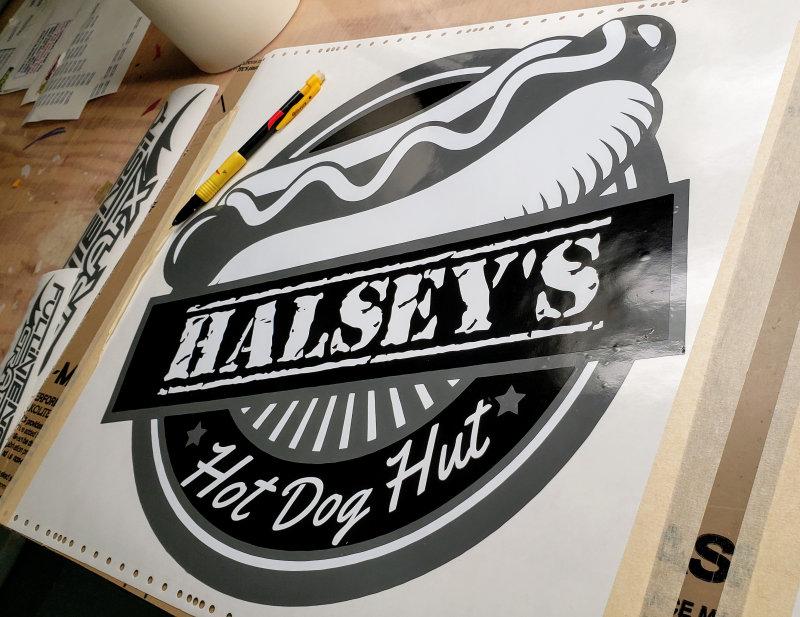 Hotdog logo decal