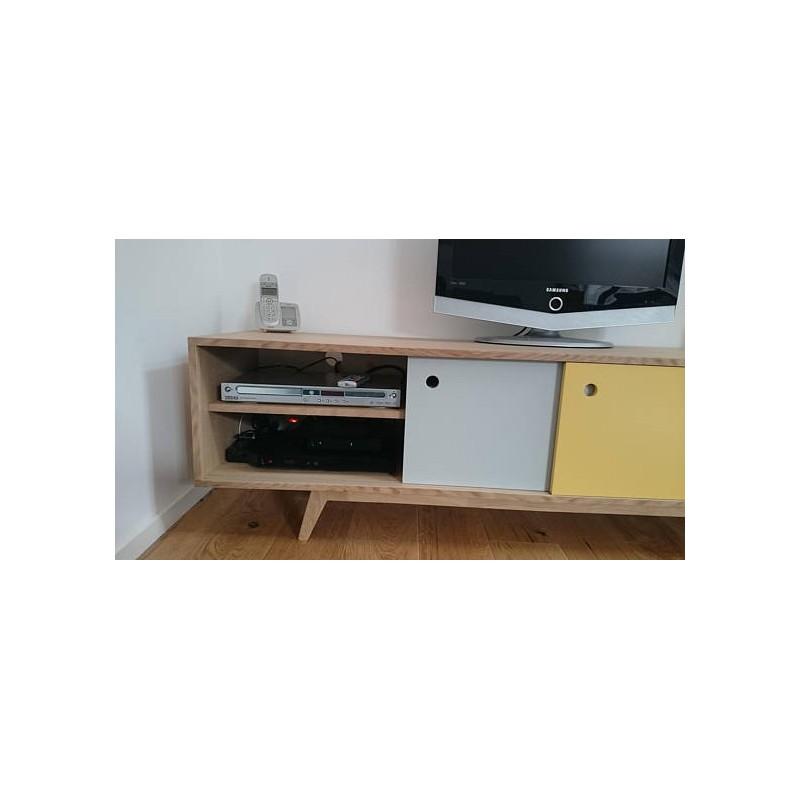meuble tv scandinave chene gris jaune blanc