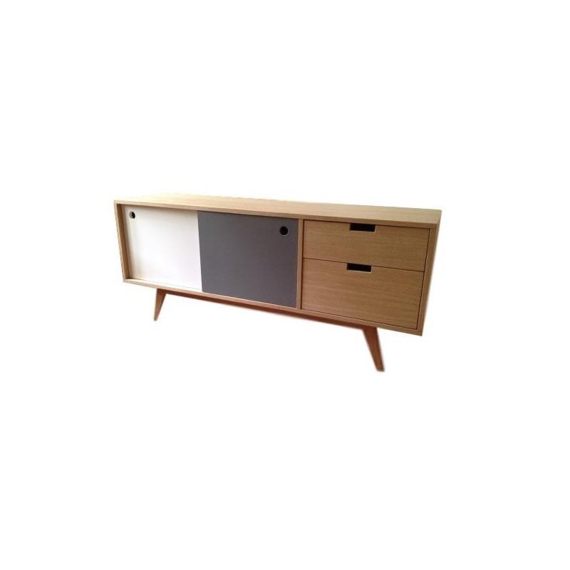 meuble tv scandinave chene gris et blanc