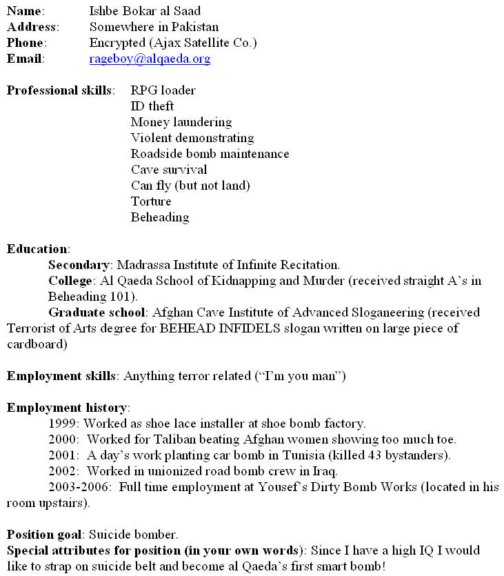 ready to fill up resume