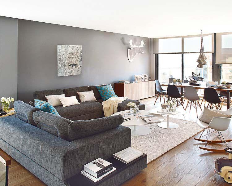 decoration salon moderne gris deco