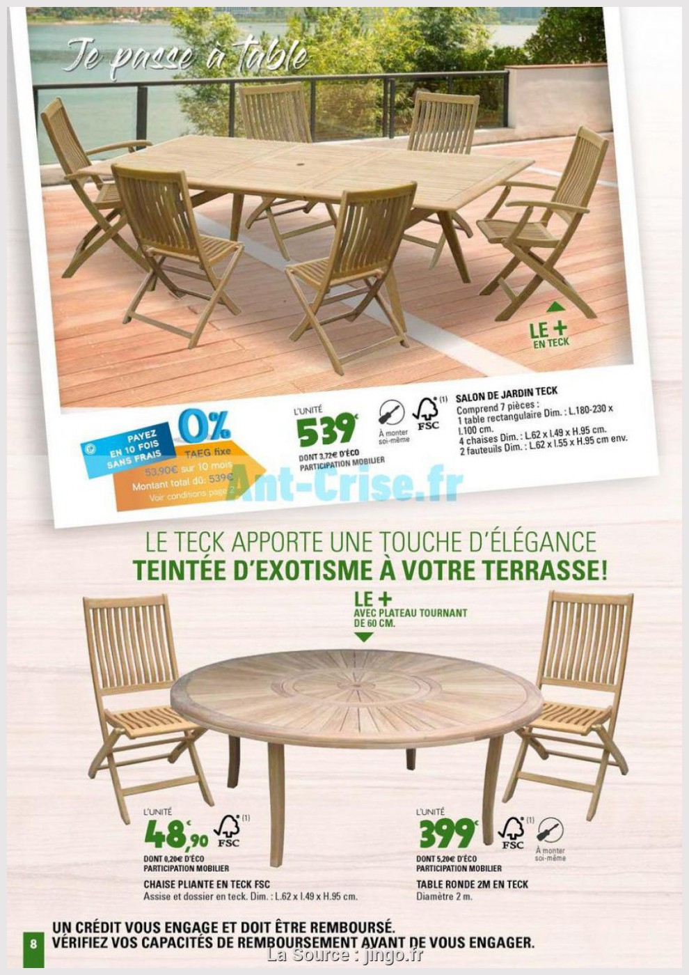 jardin belle teck de leclerc 2m 8 table
