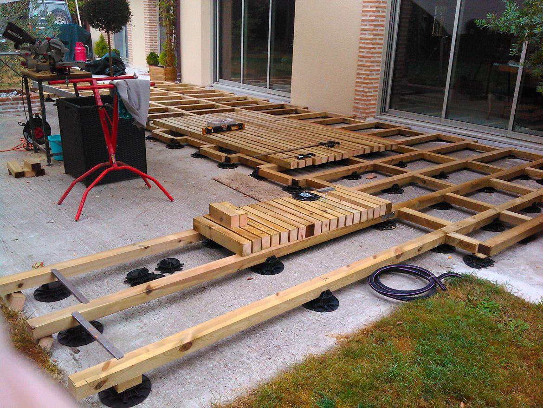 Creation D Une Terrasse Bois Avec Lambourde Et Plots Avec Plot Pour Dalle Terrasse Brico Depot Idees Conception Jardin Idees Conception Jardin