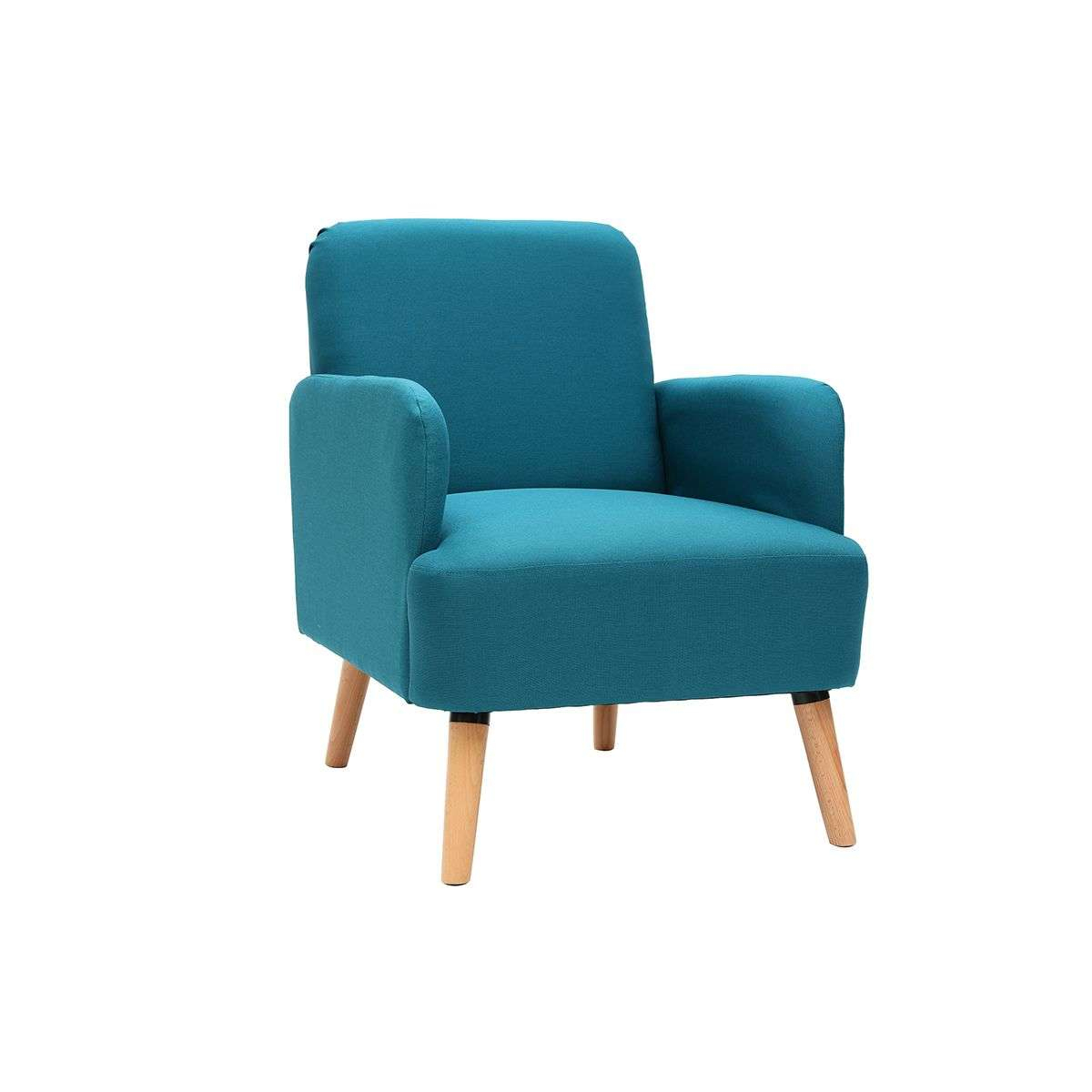 fauteuil scandinave bleu canard et bois