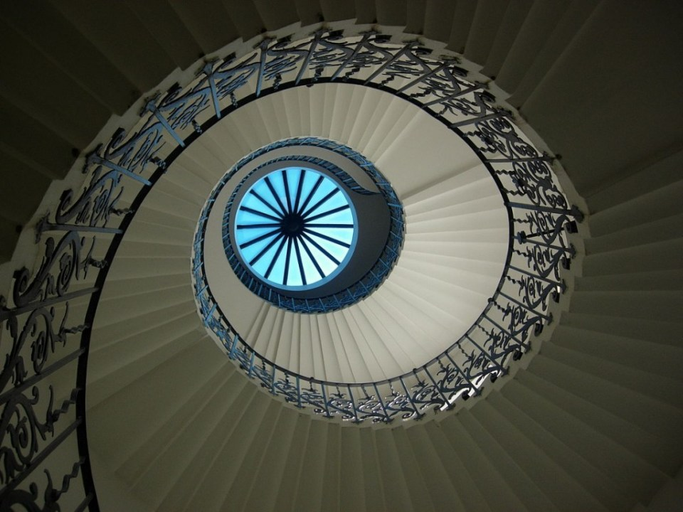 Spiral staircase and lantern at the Queen's House in Greenwich, by McGinnly and shared from Wikipedia.