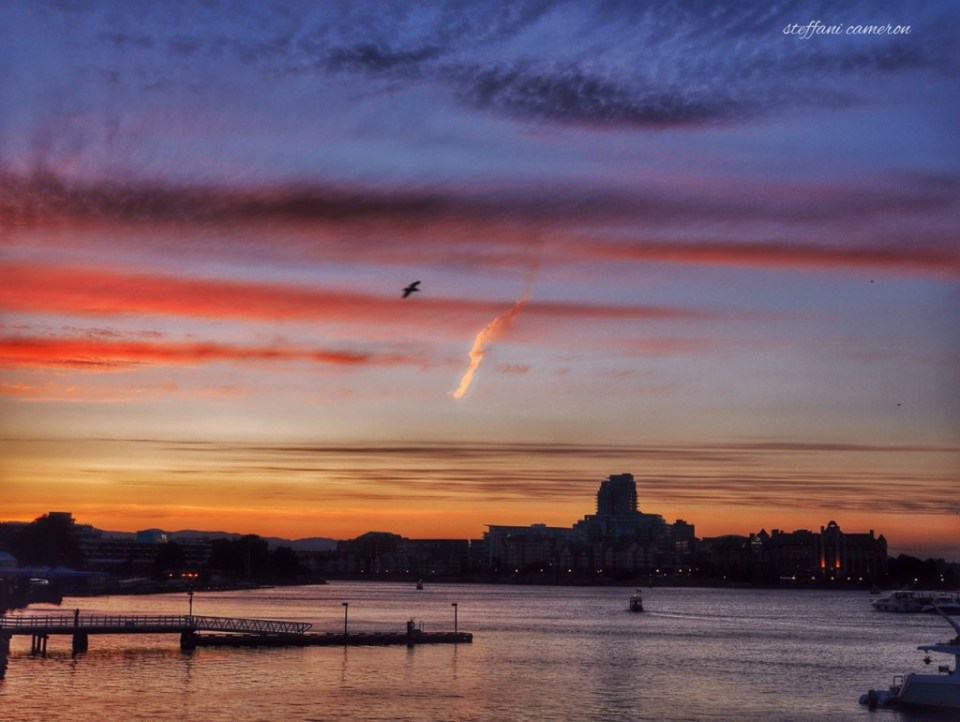 A sunset from the summer of 2014, back when I still had time to see the world a little. This is looking out from Victoria, BC, Canada's Inner Harbour. It's been a wonderful place to spend 3.5 years. Thanks, Victoria!