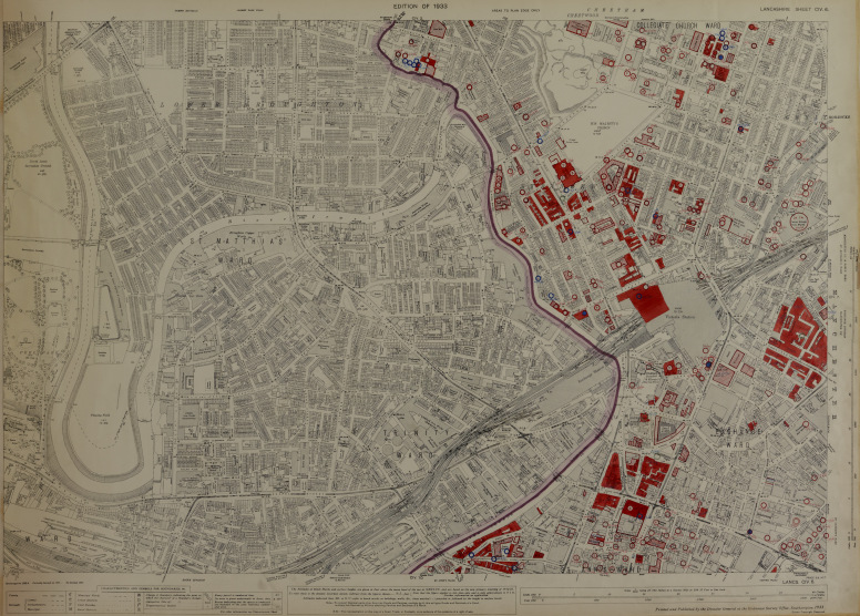 Areas destroyed by bombs on those two fateful nights are in red. Map from the University of Manchester Archives.