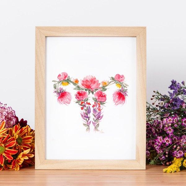 illustration aquarelle floraison utérus en fleurs