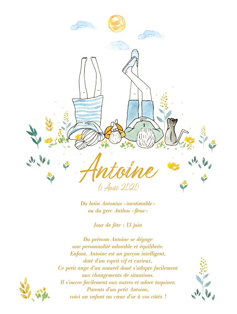 Création de faire part, tableau de naissance, illustration bébé, Antoine, By Full of Lau.