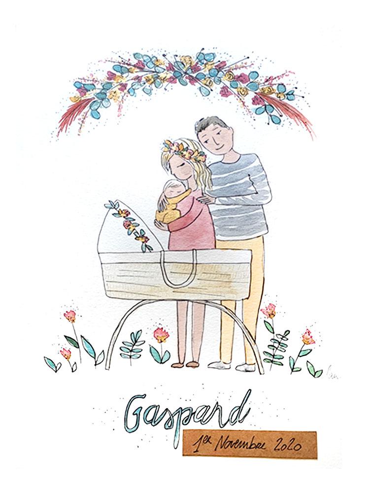 Création de faire part, tableau de naissance, illustration bébé, Gaspard, By Full of Lau.