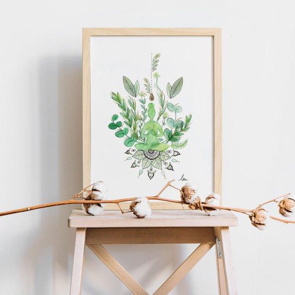 illustration aquarelle green yoga