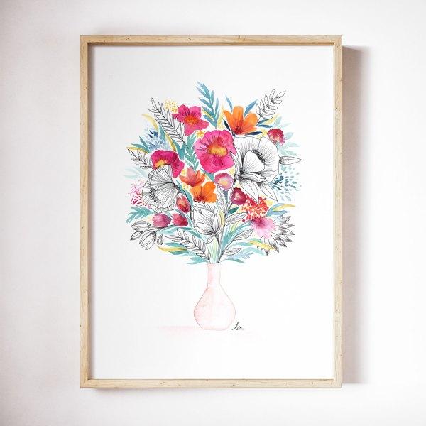 illustration aquarelle fete des mere soliflore