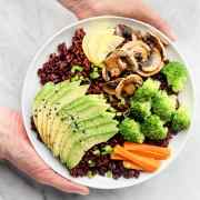 Glowing Black Rice Bowls with Crunchy Almond Butter Dressing