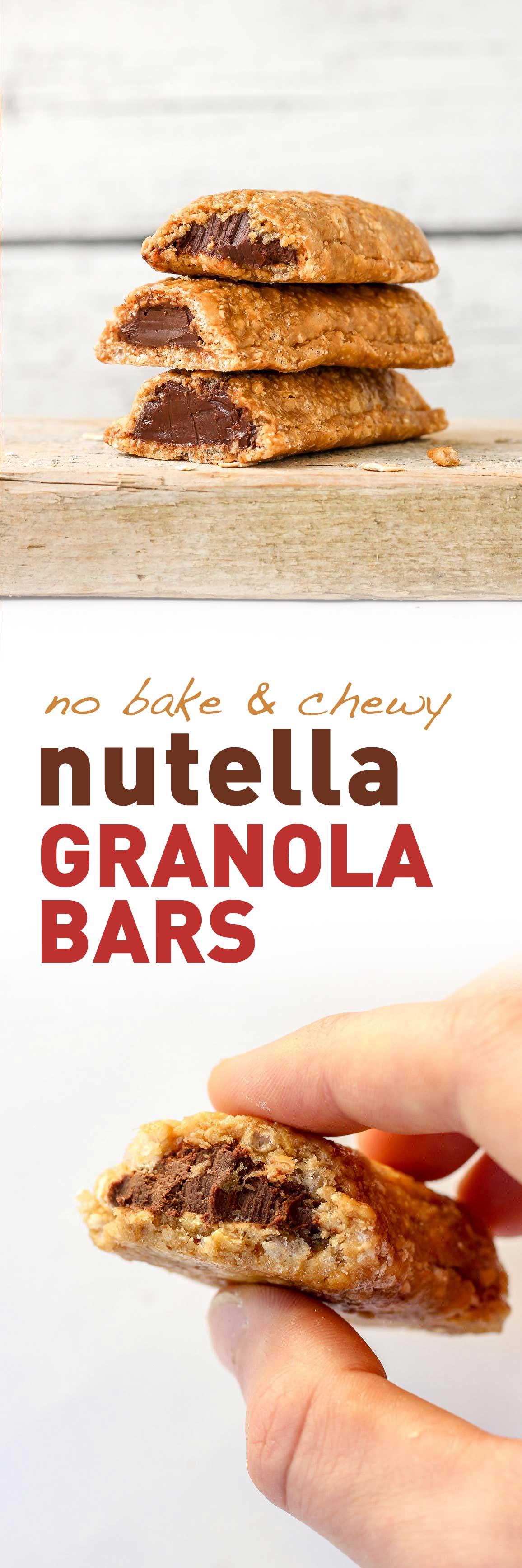 No-Bake Nutella Filled Soft Granola Bars