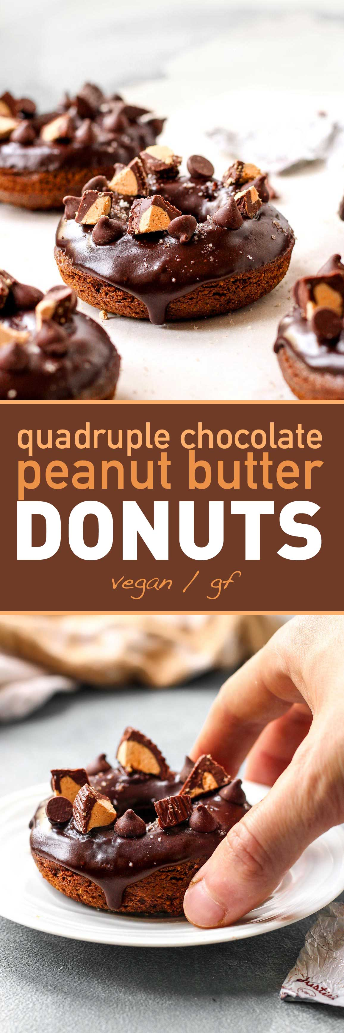 Quadruple Chocolate Peanut Butter Donuts