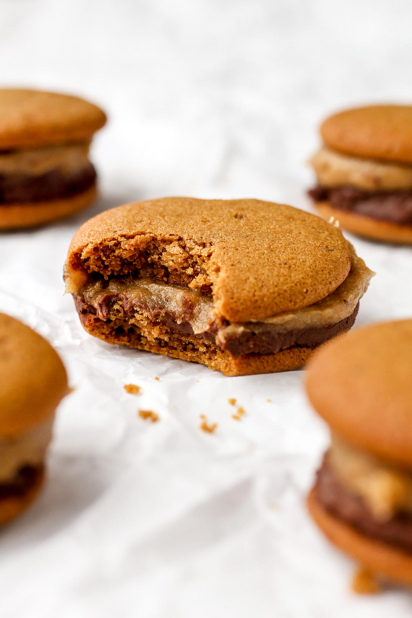 Caramel Chocolate Cookie Sandwiches (Vegan + GF)