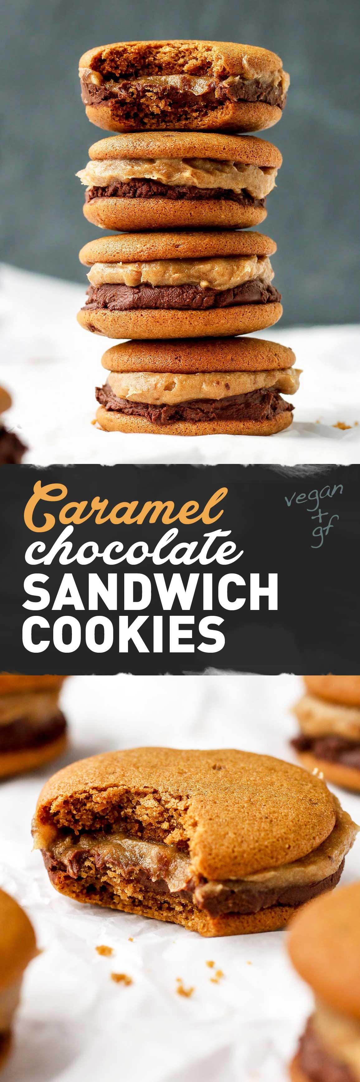 Caramel Chocolate Sandwich Cookies (Vegan + GF)