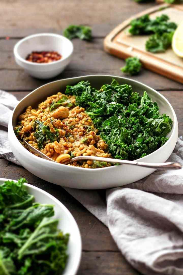 Cashew Buckwheat Curry with Garlic Kale