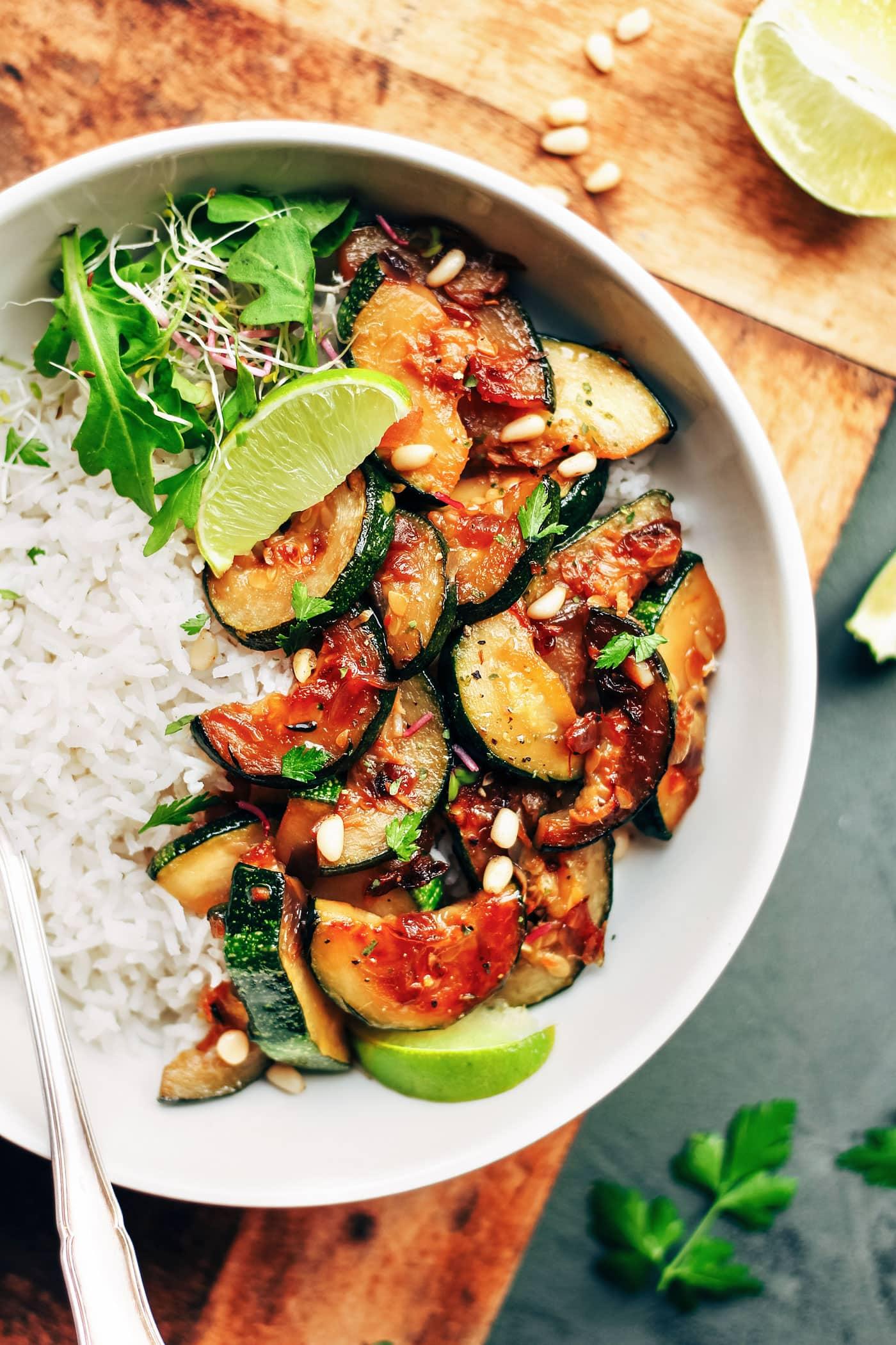 Sesame Caramelized Zucchini