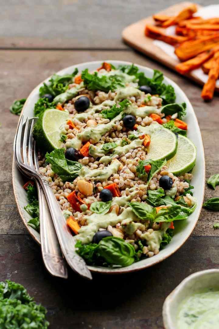 Sweet Potato & Pesto Buckwheat Salad