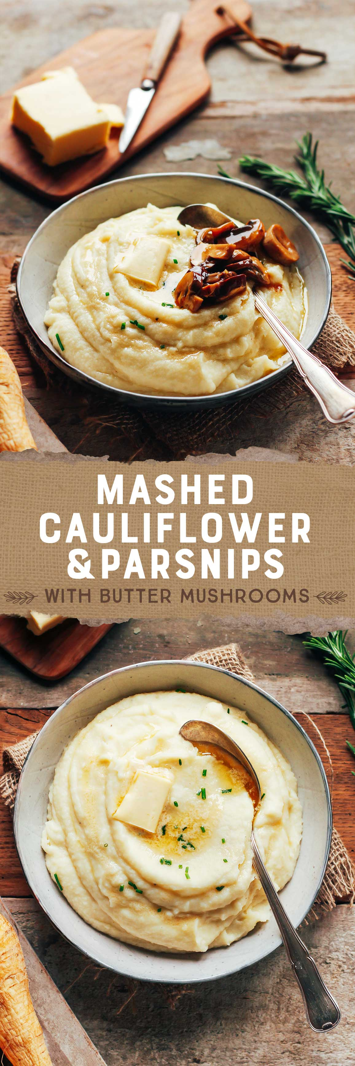 Mashed Cauliflower & Parsnips with Garlic Butter Mushrooms