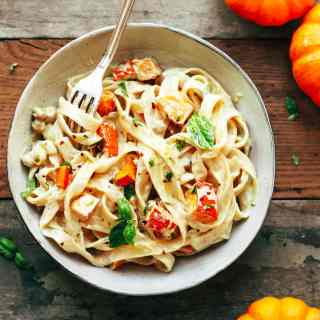 Pumpkin & Chickpea Pasta with Creamy Miso Sauce