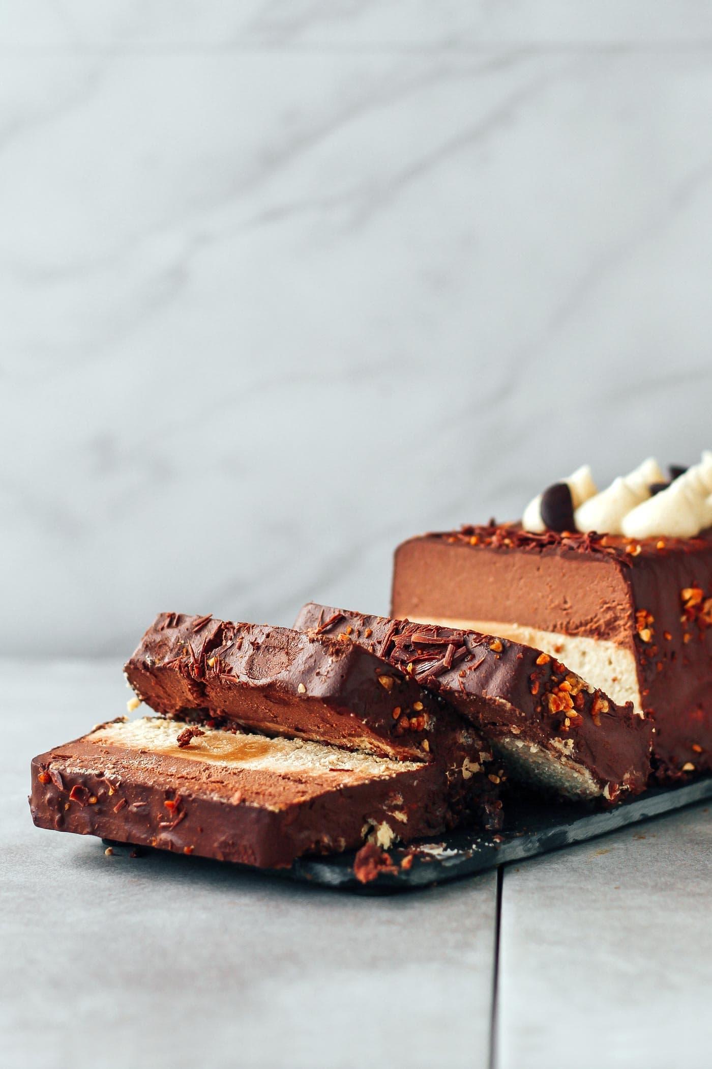 Chocolate, Caramel, and Vanilla Yule Log (Vegan + GF)