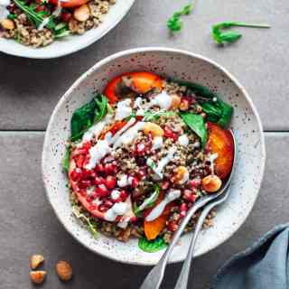 Roasted Persimmon & Pomegranate Quinoa Salad