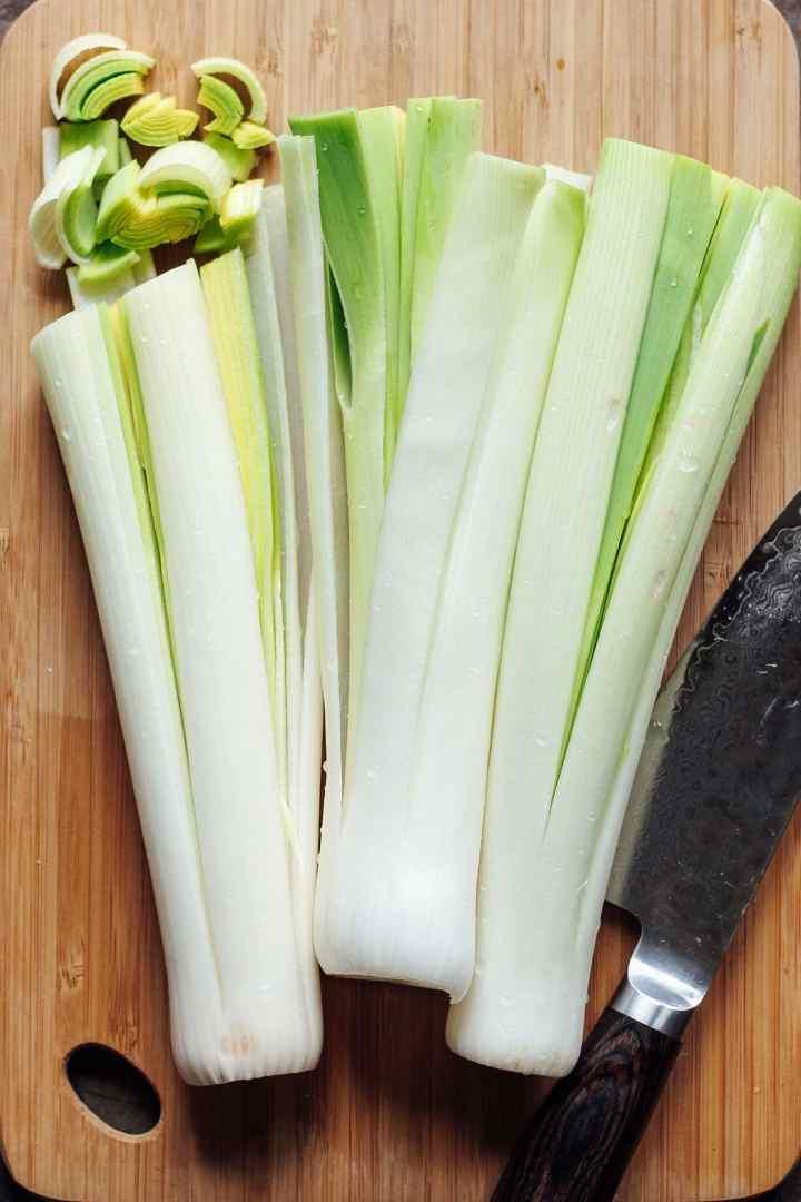 Savory Buckwheat Crepes with Leek Fondue & Coconut Bacon #vegan #plantbased #glutenfree #crepes
