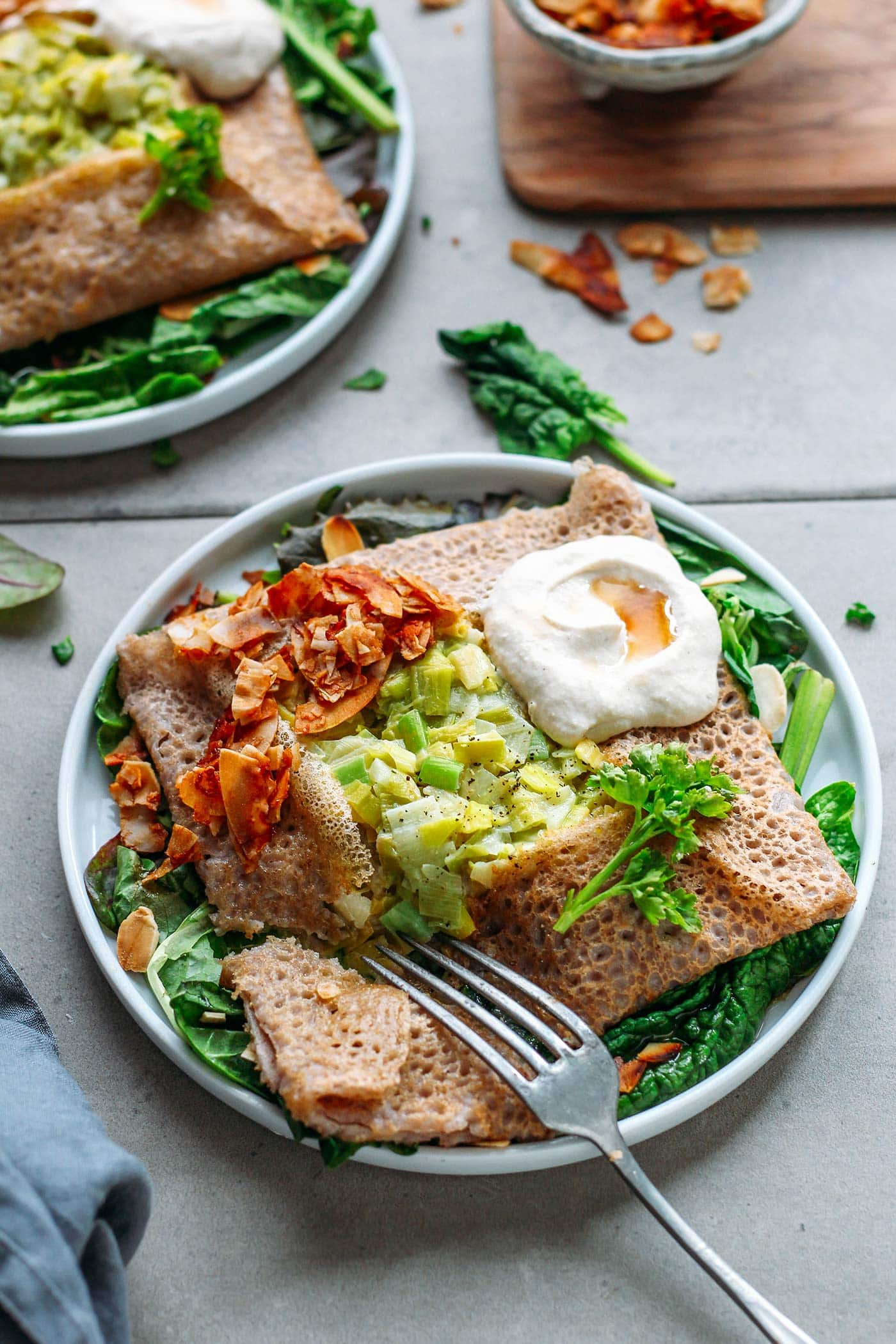Savory Buckwheat Crepes with Leek Fondue & Coconut Bacon