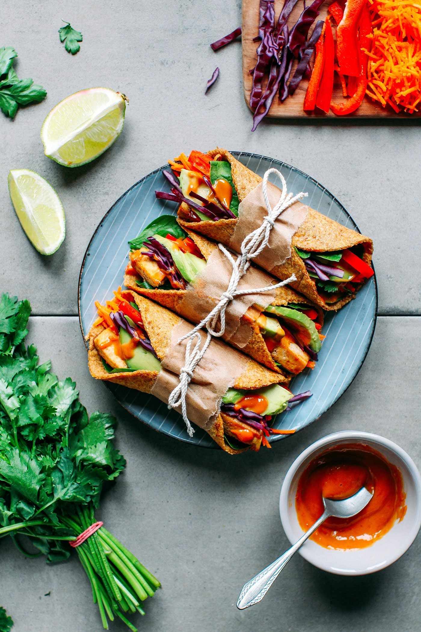 Spicy Thai Flaxseed Wraps