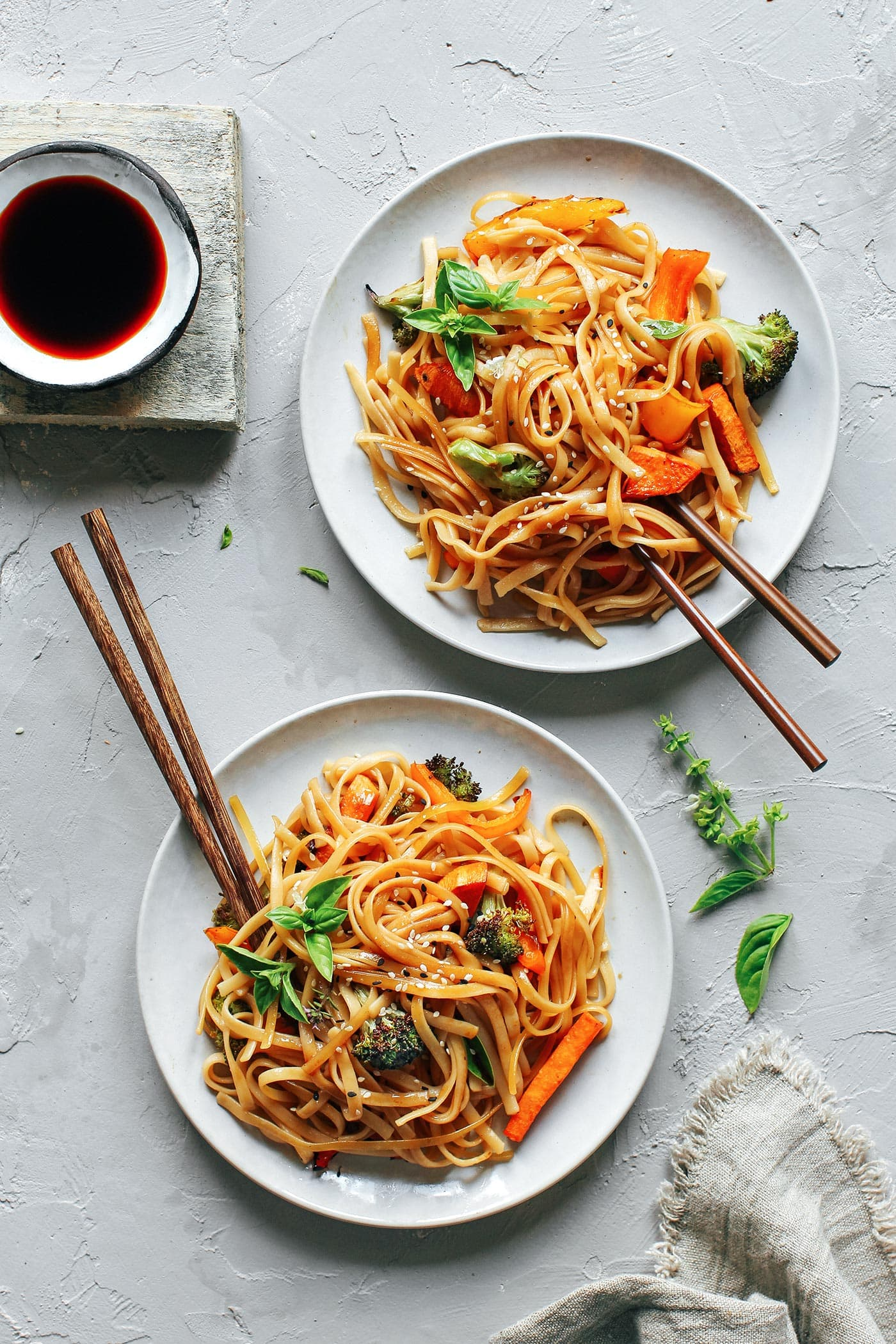 Instant Pot Sesame & Basil Noodles with Roasted Veggies